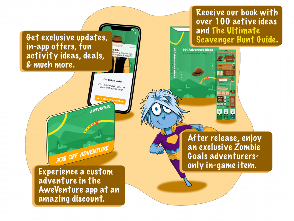 AweVenture signup gifts including updates, a discount, a guide, a book, and a Zombie Goals in game item
