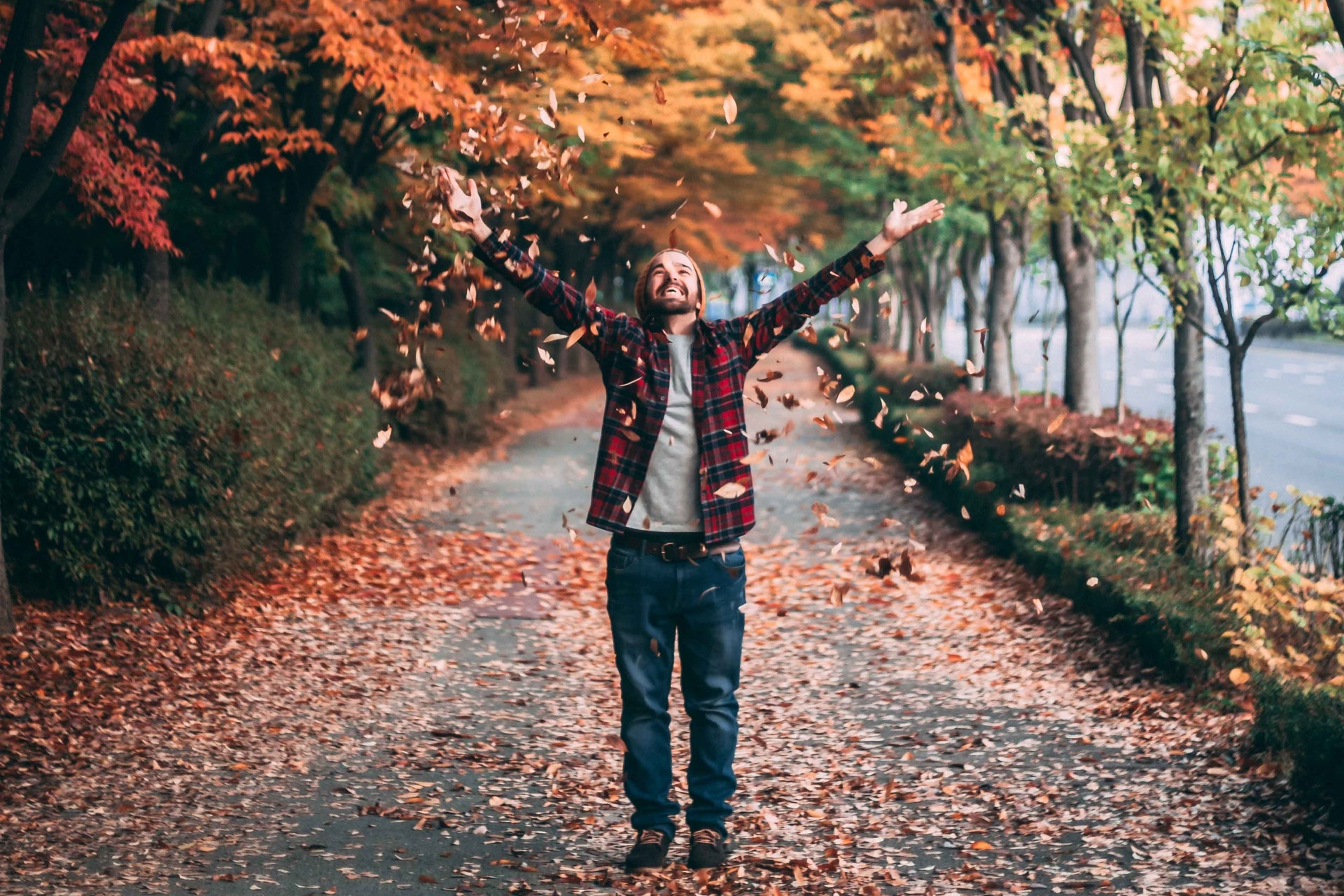 Autumn scene with man on paved trail covered in leaves throwing leaves into the air