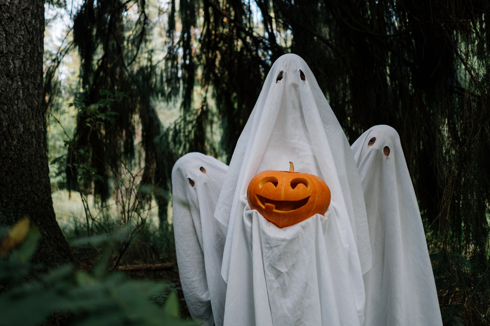 a person dressed as a ghost in a sheet holding a jack-o-lantern while two other shorter ghosts poke their heads out from behind them